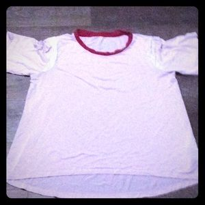 Croped pink white and red shirt